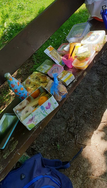picnic on the bench with the local sectaries after the 10k walk challenge
