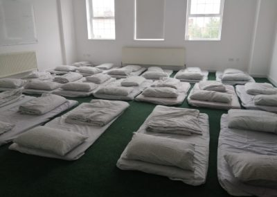 Sleeping arrangements at the Darul Barakat Mosque Birmingham